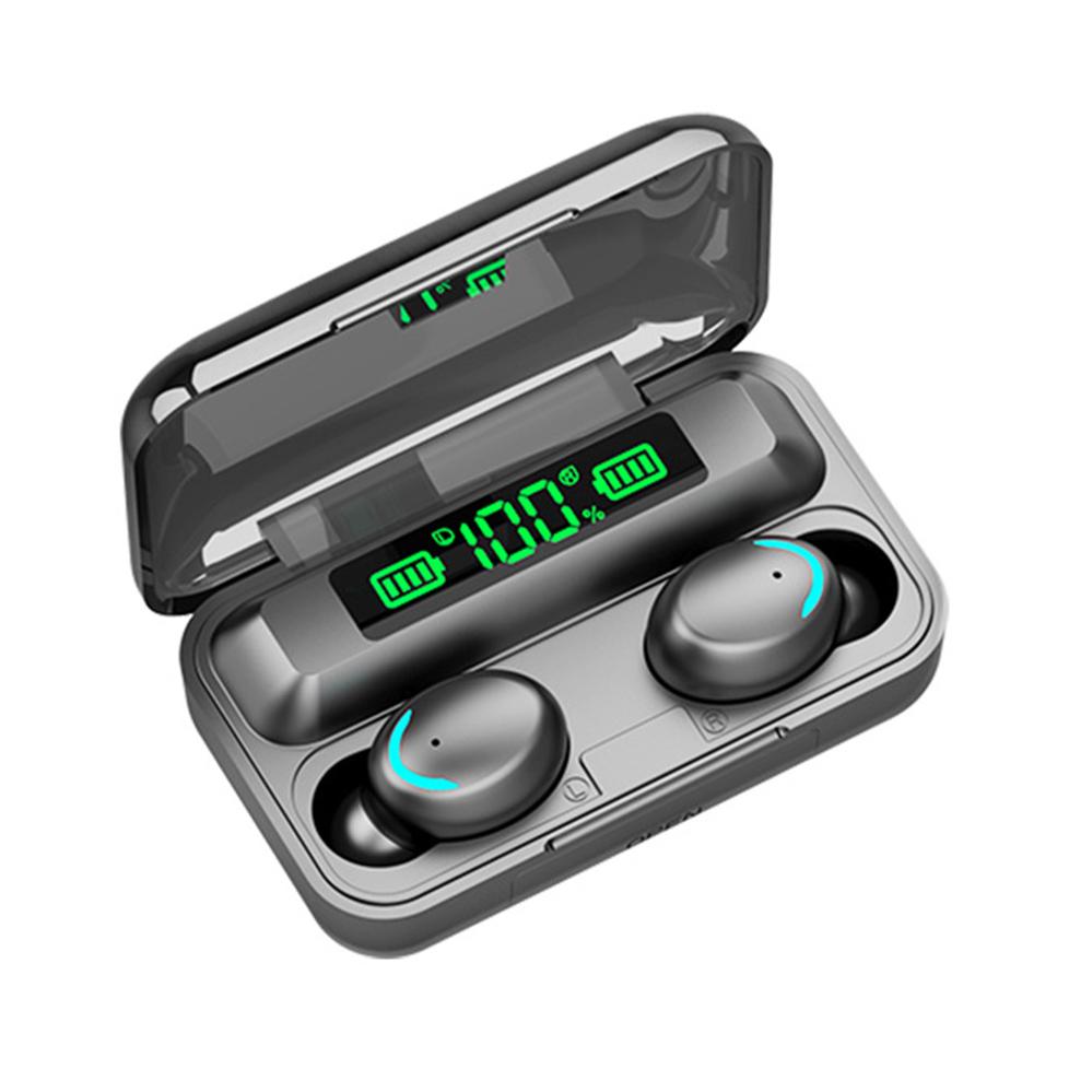 Сенсорные блютуз наушники с цифровым боксом индикатора заряда.