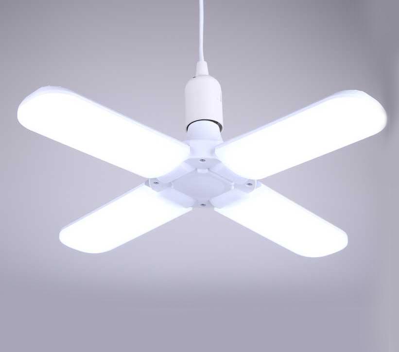 Складной LED светильник-люстра на четыре лепестка